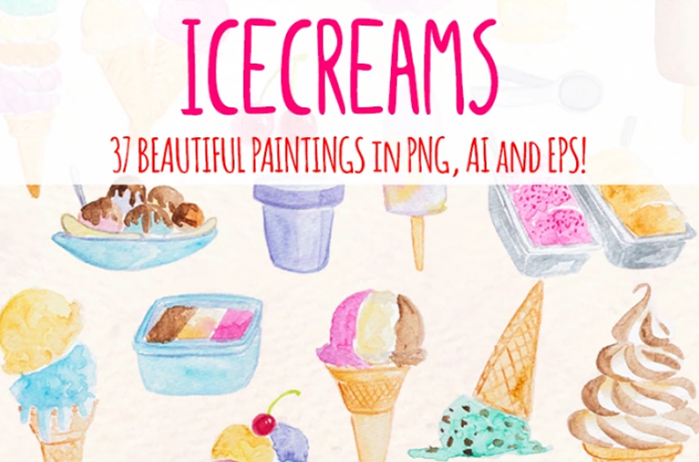 Icecream and Summer Snack Illustrations
